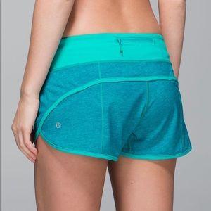 Lululemon turquoise speed short size 2
